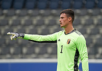 Belgium's goal keeper Mila Svilar points during a soccer game between the national teams Under21 Youth teams of Belgium and Germany on the 5th matday in group 9 for the qualification for the Under 21 EURO 2021 , on tuesday 8 th of September 2020  in Leuven , Belgium . PHOTO SPORTPIX.BE | SPP | SEVIL OKTEM