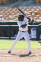 Glendale Desert Dogs left fielder Estevan Florial (13), of the New York Yankees organization, at bat during an Arizona Fall League game against the Mesa Solar Sox at Camelback Ranch on October 15, 2018 in Glendale, Arizona. Mesa defeated Glendale 8-0. (Zachary Lucy/Four Seam Images)
