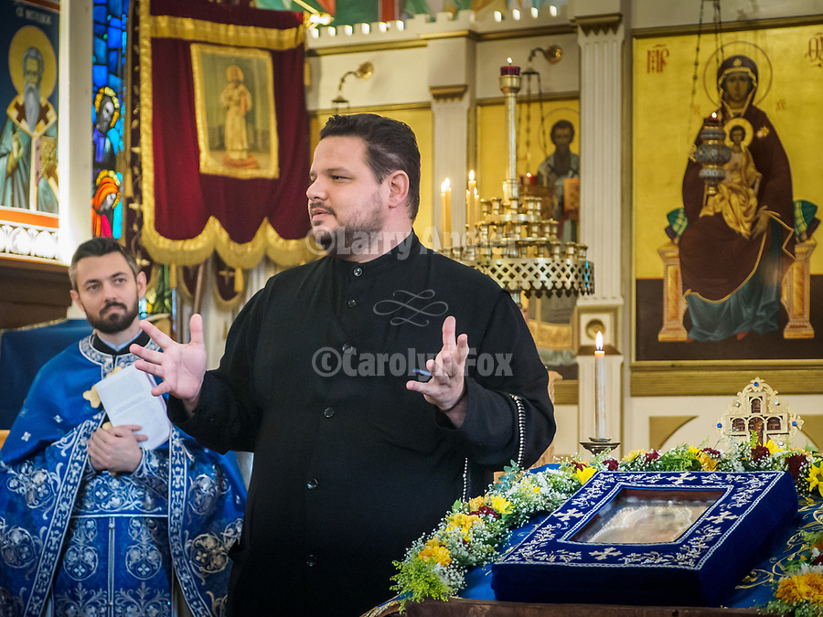 The miracle-giving, myrrh-streaming Iveron Icon of the Theotokos from Hawaii visits St. Sava Jackson, during divine liturgy at St. Sava Jackson.<br /> <br /> Serving liturgy included Fr. Marko Bojovic, St. Sava, Fr. Joseph Ramos, St. Sussana, Jamestown, Fr. Rares Onofrei, Holy Archangel Michael & Gabriel Romanian Orthodox Church, Sacramento and joining the congregation,  Fr. John Longero, St. Andrews, Reno.<br /> <br /> Bringing the icon from Holy Theotokos of Iverson Russian Orthodox Church in Hawaii to Jackson were driver Mary and Ipodiakon Nectarios Yangson, the keeper and guardian of the icon.
