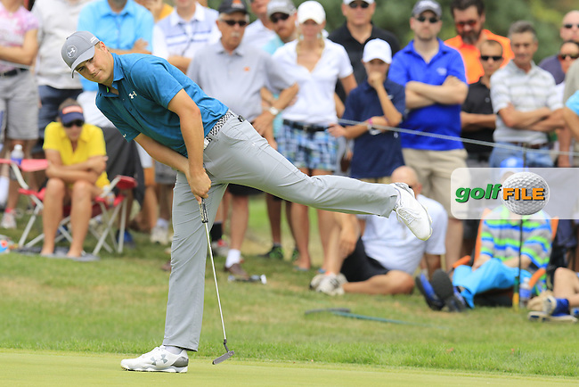 Jordan Spieth (USA) misses his putt on the 7th green during Sunday's Final Round of the 2015 Bridgestone Invitational World Golf Championship held at the Firestone Country Club, Akron, Ohio, United States of America. 9/08/2015.<br /> Picture Eoin Clarke, www.golffile.ie