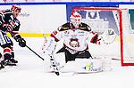 S&ouml;dert&auml;lje 2014-10-23 Ishockey Hockeyallsvenskan S&ouml;dert&auml;lje SK - Malm&ouml; Redhawks :  <br /> Malm&ouml; Redhawks m&aring;lvakt Pontus Sj&ouml;gren g&ouml;r en r&auml;ddning under matchen mellan S&ouml;dert&auml;lje SK och Malm&ouml; Redhawks <br /> (Foto: Kenta J&ouml;nsson) Nyckelord: Axa Sports Center Hockey Ishockey S&ouml;dert&auml;lje SK SSK Malm&ouml; Redhawks