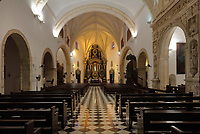 Nave of the Church and Convent of the Dominicans, built 1510, the first catholic building in the New World, in the Colonial Zone of Santo Domingo, capital of the Dominican Republic, in the Caribbean. It was inaugurated in 1532 and became the University Santo Tomas de Aquino in 1538, the first university in the Americas. Santo Domingo's Colonial Zone is listed as a UNESCO World Heritage Site. Picture by Manuel Cohen