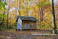 63895-16604 Cabin at Log Cabin Village in fall Kinmundy IL