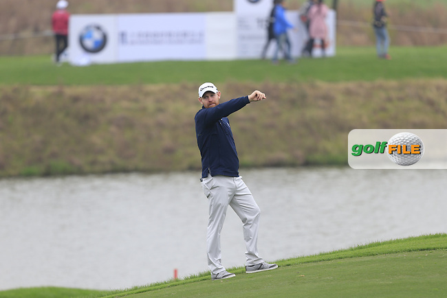 Stephen Gallacher (SCO) on the 18th fairway during Round 2 of the BMW Masters at Lake Malaren Golf Club in Boshan, Shanghai, China on Friday 13/11/15.<br /> Picture: Thos Caffrey | Golffile<br /> <br /> All photo usage must carry mandatory copyright credit (&copy; Golffile | Thos Caffrey)