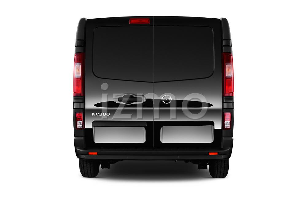 Straight rear view of 2017 Nissan NV300 Optima 4 Door Cargo Van Rear View  stock images