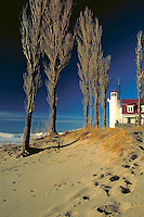 on Lake Michigan shore in winter, coast, sand dunes, lighthouses. Point Betsie Michigan USA.