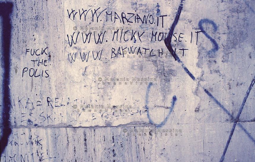 Graffiti on the walls in Zen district in Palermo.<br /> Scritte sui muri nel quartiere Zen di Palermo.