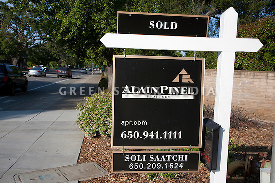 Alain Pinel's Sold sign for a residential home in Palo Alto, California.