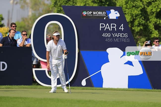 Victor Dubuisson (FRA) on the 9th tee during Round 2 of the DP World Tour Championship at the Earth course,  Jumeirah Golf Estates in Dubai, UAE,  20/11/2015.<br /> Picture: Golffile | Thos Caffrey<br /> <br /> All photo usage must carry mandatory copyright credit (&copy; Golffile | Thos Caffrey)