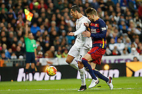 Real Madrid´s Cristiano Ronaldo and Barcelona´s Pique during 2015-16 La Liga match between Real Madrid and Barcelona at Santiago Bernabeu stadium in Madrid, Spain. November 21, 2015. (ALTERPHOTOS/Victor Blanco) /NortePhoto