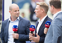 Shane Warne expresses a viewpoint with Andrew Strauss and Rob Key during Australia vs England, ICC World Cup Semi-Final Cricket at Edgbaston Stadium on 11th July 2019