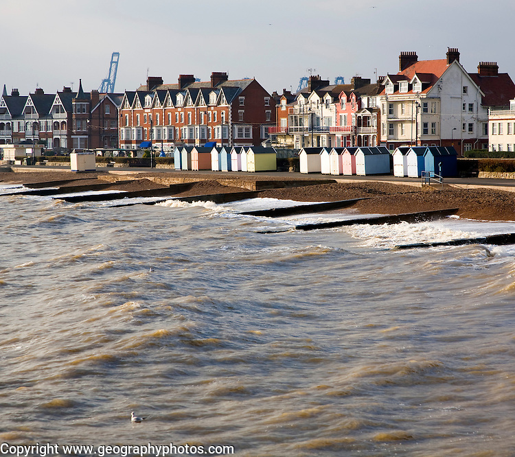 Sea and seafront buildings in winter at Felixstowe, Suffolk, England