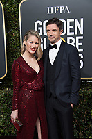 Topher Grace and Ashley Hinshaw attend the 76th Annual Golden Globe Awards at the Beverly Hilton in Beverly Hills, CA on Sunday, January 6, 2019.<br /> *Editorial Use Only*<br /> CAP/PLF/HFPA<br /> Image supplied by Capital Pictures