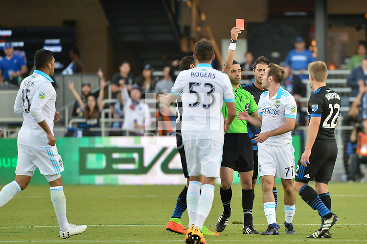 San Jose, CA - Wednesday June 28, 2017: Nima Saghafi, Francisco Narbón during a U.S. Open Cup Round of 16 match between the San Jose Earthquakes and the Seattle Sounders FC at Avaya Stadium.