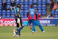 Hamid Hassan (Afghanistan) celebrates the wicket of Dhananjaya de Silva (Sri Lanka) during Afghanistan vs Sri Lanka, ICC World Cup Cricket at Sophia Gardens Cardiff on 4th June 2019