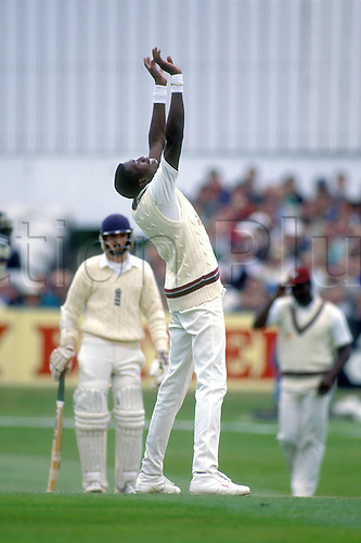 June 1991, West Indies bowler CURTLEY AMBROSE celebrates the wicket of Russell during the 1st test match between England and the West Indies at Headingley. Photo: Chris Barry/Action Plus...9106 cricket celebrate