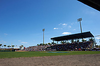 General view of a Pittsburgh Pirates Spring Training game against the Boston Red Sox on March 9, 2016 at McKechnie Field in Bradenton, Florida.  Starting pitcher Joe Kelly (56) on the mound with Sean Rodriguez (3) batting, also shown catcher Ryan Hanigan (10) and umpire Tom Hallion.  Boston defeated Pittsburgh 6-2.  (Mike Janes/Four Seam Images)