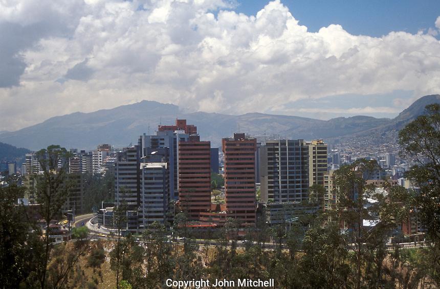 Highrise condominiums and office buildings in new Quito, Ecuador