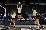 Bailey Shurbet (3) of the Wake Forest Demon Deacons sets the ball during the match against the USC Upstate Spartans in the LJVM Coliseum on September 9, 2017 in Winston-Salem, North Carolina.  The Demon Deacons defeated the Spartans 3-2.   (Brian Westerholt/Sports On Film)