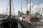 Old wooden ships in marina, Ipswich Wet Dock, Ipswich, Suffolk, England