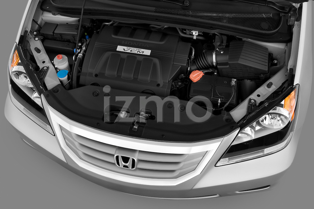 High angle engine detail of a 2009 Honda Odyssey Touring .