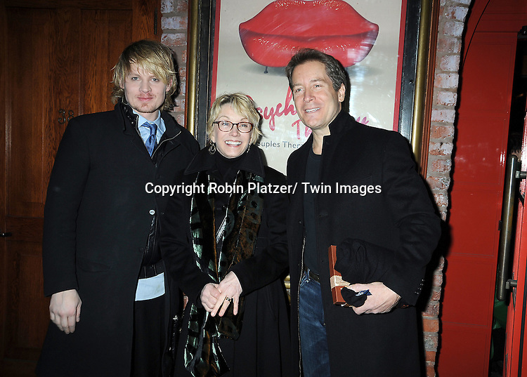 """Jeffrey Carlson, Sandy Duncan and Laurence Lau attend the opening Night of  """"Psycho Therapy"""" on February 7, 2012 at The Cherry Lane Theatre in New York City. The show stars, Angelica Page, Jeffrey Carlson, Jan Leslie Harding and Laurence Lau."""