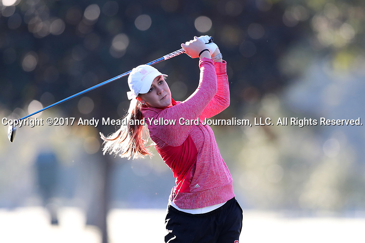 WILMINGTON, NC - OCTOBER 27: NC State's Cecily Overbey on the 11th tee. The first round of the Landfall Tradition Women's Golf Tournament was held on October 27, 2017 at the Pete Dye Course at the Country Club of Landfall in Wilmington, NC.