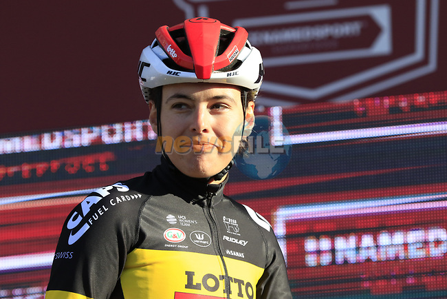 Belgian National Champion Annelies Dom (BEL) Lotto-Soudal Ladies at sign on before the Strade Bianche Women Elite 2019 running 133km from Siena to Siena, held over the white gravel roads of Tuscany, Italy. 9th March 2019.<br /> Picture: Eoin Clarke | Cyclefile<br /> <br /> <br /> All photos usage must carry mandatory copyright credit (© Cyclefile | Eoin Clarke)