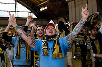 Members of the Sons of Ben cheer on their team, the Philadelphia Union, before the MLS Superdraft at the Pennsylvania Convention Center in Philadelphia, PA.