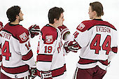 Alexander Kerfoot (Harvard - 14), Jimmy Vesey (Harvard - 19), Max Everson (Harvard - 44) - The Harvard University Crimson defeated the visiting Princeton University Tigers 5-0 on Harvard's senior night on Saturday, February 28, 2015, at Bright-Landry Hockey Center in Boston, Massachusetts.