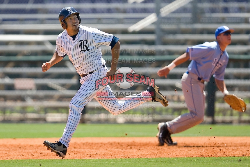 Rice Owls designated hitter Anthony Rendon #23 heads to second base against the Memphis TIgers in NCAA Conference USA baseball on May 14, 2011 at Reckling Park in Houston, Texas. (Photo by Andrew Woolley / Four Seam Images)