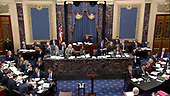 In this image from United States Senate television, this is the scene in the US Senate Chamber during debate concerning an amendment to US Senate Resolution 483, during the impeachment trial of US President Donald J. Trump in the US Senate in the US Capitol in Washington, DC on Tuesday, January 21, 2020.<br /> Mandatory Credit: US Senate Television via CNP