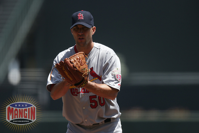 SAN FRANCISCO - MAY 17:  Adam Wainwright of the St. Louis Cardinals pitches during the game against the San Francisco Giants at AT&T Park on May 17, 2012 in San Francisco, California. (Photo by Brad Mangin)