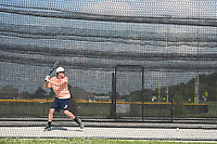 "NWA Democrat-Gazette/J.T. WAMPLER Trace Jones of Bentonville gets some batting practice Sunday July 16, 2017 at C.L. ""Charlie"" and Willie George Park in Springdale. Jones was practicing with batting coach Cody Brunk of Springdale. (not pictured)"