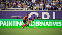 Orlando, Florida - Sunday, May 14, 2016: Western New York Flash defender Abby Erceg (6) dribbles away from Orlando Pride forward Sarah Hagen (8) during a National Women's Soccer League match between Orlando Pride and New York Flash at Camping World Stadium.