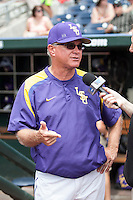 LSU Tigers Head Coach Paul Mainieri (1) is interviewed before the NCAA College World Series game on June 14, 2015 against the TCU Horned Frogs at TD Ameritrade Park in Omaha, Nebraska. TCU defeated LSU 10-3. (Andrew Woolley/Four Seam Images)