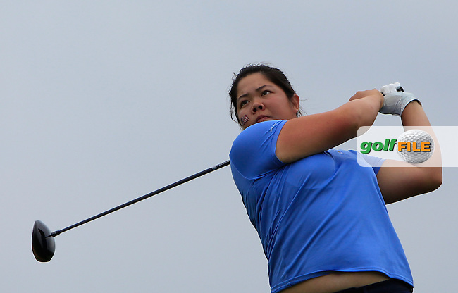 Bethany Wu on the 5th tee during the Friday afternoon Fourballs of the 2016 Curtis Cup at Dun Laoghaire Golf Club on Friday 10th June 2016.<br /> Picture:  Golffile   Thos Caffrey