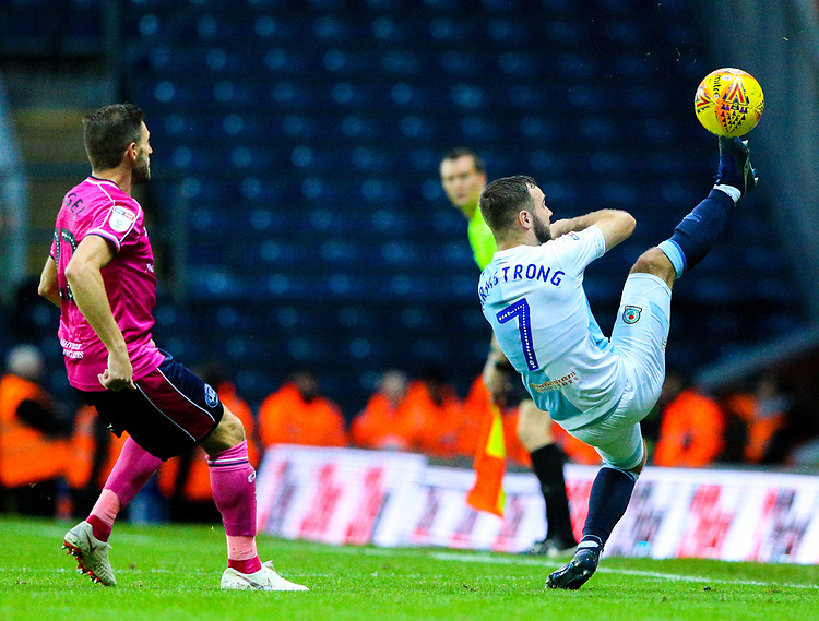 Blackburn Rovers' Adam Armstrong keeps the ball in play<br /> <br /> Photographer Alex Dodd/CameraSport<br /> <br /> The EFL Sky Bet Championship - Blackburn Rovers v Queens Park Rangers - Saturday 3rd November 2018 - Ewood Park - Blackburn<br /> <br /> World Copyright © 2018 CameraSport. All rights reserved. 43 Linden Ave. Countesthorpe. Leicester. England. LE8 5PG - Tel: +44 (0) 116 277 4147 - admin@camerasport.com - www.camerasport.com