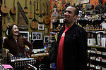 "Ben Harper and his mother Ellen Chase-Verdries laugh together at his family's music store ""Folk Music Center"" in Claremont, California, on December 8, 2012. ©Jonathan Alcorn/JTA."