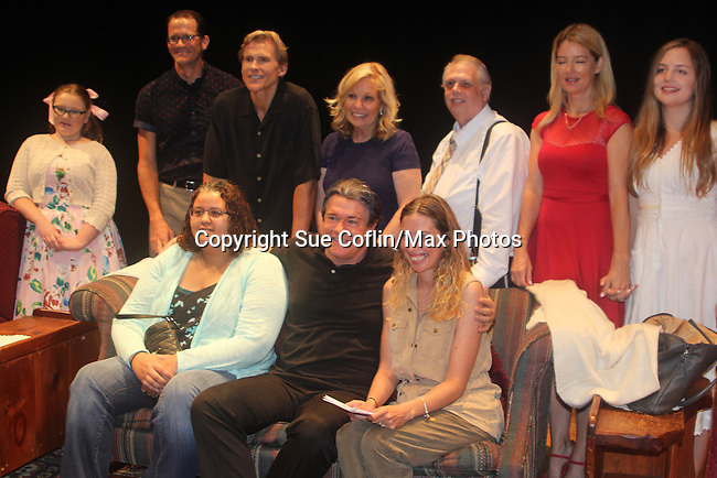 """Guiding Light's Michael O'Leary author of """"Breathing Under Dirt"""" poses with fans and cast - Meredith Taylor, Emma Gilliland, Jeff Smith, Grant Aleksander, Tina Sloan, Robert Forester, Cynthia Watros - full play - had its world premier on August 13 and 14, 2016 at the Ella Fitzgerald Performing Arts Center, University of Maryland Eastern Shore, Princess Anne, Maryland  (Photo by Sue Coflin/Max Photos)"""