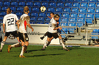 Shannon Boxx feeds an assist through multiple German defenders to assist on the game winning goal.  The USA captured the 2010 Algarve Cup title by defeating Germany 3-2, at Estadio Algarve on March 3, 2010.