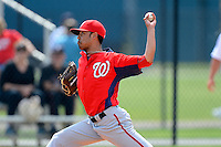 Washington Nationals pitcher Benjamin Hawkins #64 during a minor league Spring Training game against the Detroit Tigers at Tiger Town on March 22, 2013 in Lakeland, Florida.  (Mike Janes/Four Seam Images)