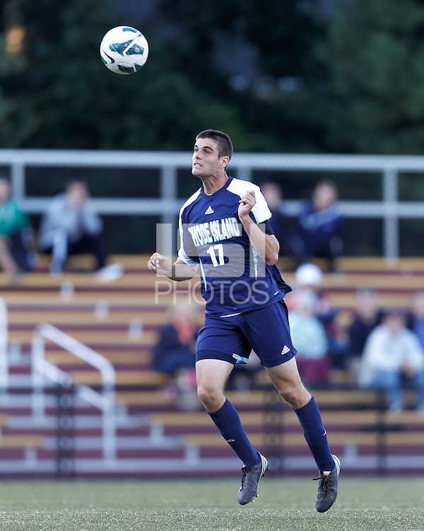University of Rhode Island (URI) defender Robby Gargaro (17) heads the ball. Boston College defeated University of Rhode Island, 4-2, at Newton Campus Field, September 25, 2012.