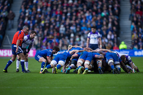 11th February  2018, Murrayfield Stadium, Edinburgh, Scotland; NatWest Six Nations Rugby, Scotland versus France; Maxime Machenaud of France puts into the scrum