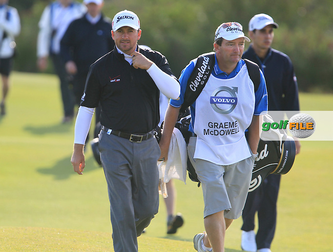 Graeme McDowell (NIR) and caddy Ken Comboy walk to the 4th green during Sunday morning's Semi Final Matches of the Volvo World Matchplay Championship at Finca Cortesin, Casares, Spain 20th May 2012 (Photo Eoin Clarke/www.golffile.ie)