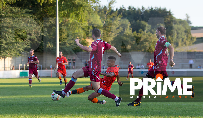 Paris Cowan-Hall of Wycombe Wanderers takes a shot at goal during the 2018/19 Pre Season Friendly match between Chesham United and Wycombe Wanderers at the Meadow , Chesham, England on 24 July 2018. Photo by Andy Rowland.
