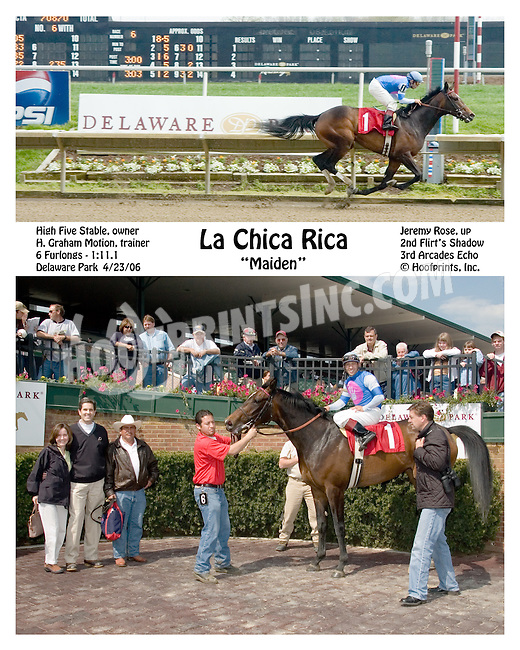La Chica Rica winning at Delaware Park on 4/23/2006
