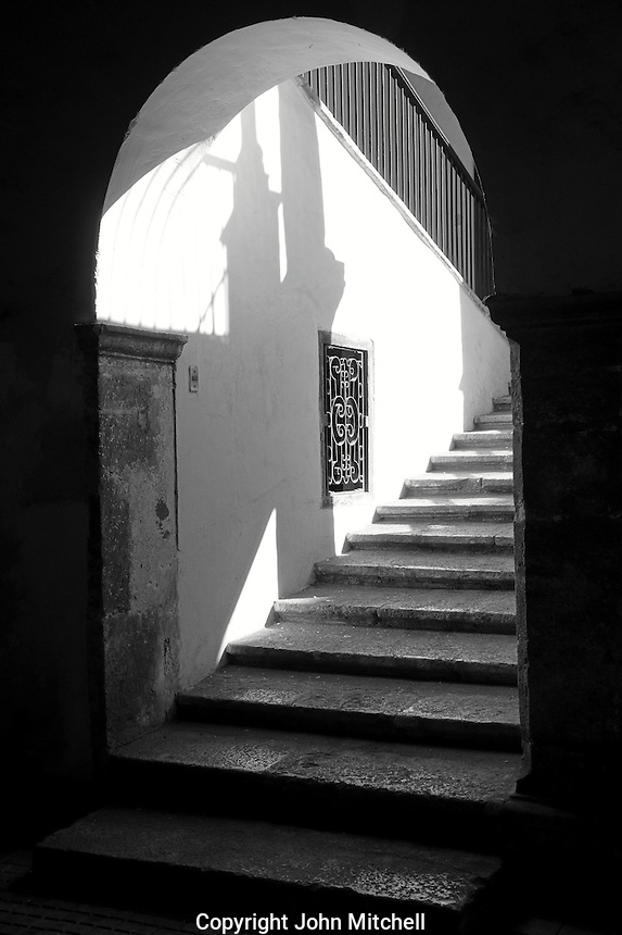 Stairway inside a Spanish colonial building in Merida, Yucatan, Mexico.
