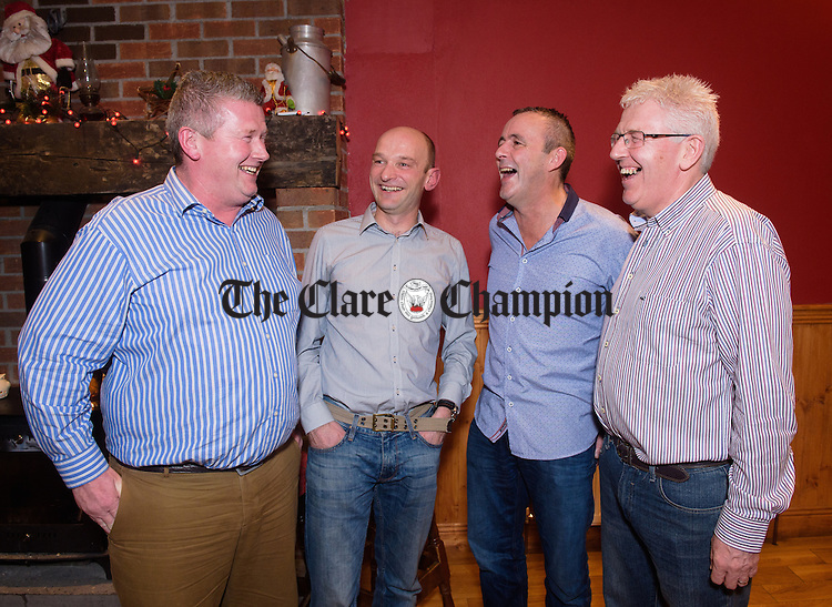 Michael Carmody, Ger Moroney, P.J. O Connell and Peter Carmody at the O Callaghan's Mills 25th anniversary celebration of their first Clare Champion Cup win in 1990 at Jack's Place, Kilkishen. Photograph by John Kelly.