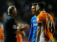 Referee Jon Moss has a word with Blackpool's Curtis Tilt and Portsmouth's Kal Naismith<br /> <br /> Photographer Alex Dodd/CameraSport<br /> <br /> The EFL Sky Bet League One - Blackpool v Portsmouth - Saturday 11th November 2017 - Bloomfield Road - Blackpool<br /> <br /> World Copyright &copy; 2017 CameraSport. All rights reserved. 43 Linden Ave. Countesthorpe. Leicester. England. LE8 5PG - Tel: +44 (0) 116 277 4147 - admin@camerasport.com - www.camerasport.com